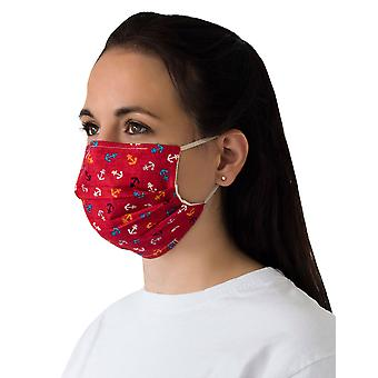 Mio BTS2 Anchors Away Red Cotton Face Mask with Removable Nose Wire