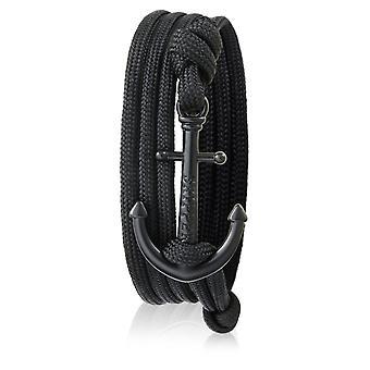 Schipper anker armband armband in zwart nylon met zwarte anker 7249