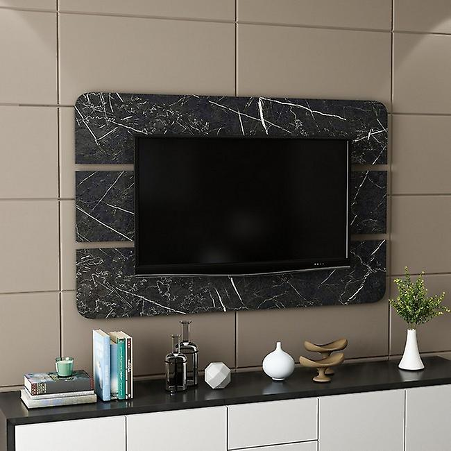 Panneau de port de tv noir de Bendis dans la puce melaminique, L150xP4xA96 cm