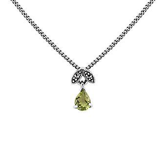 Collar colgante de pera y marcasite de estilo Art Nouveau en 925 plata de ley 214N4N488903925