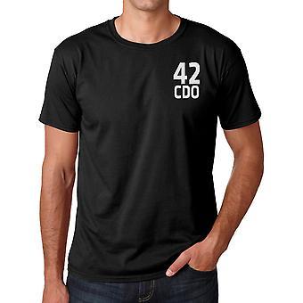 42 Commando Royal Marines Einheitentext Stickerei Logo - offizielle Baumwoll-T-Shirt