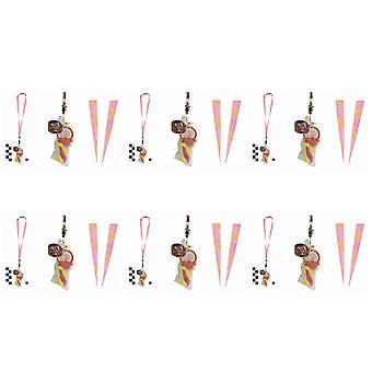 Pack Of 6 Rock Dummies With Pink Smily Lanyards