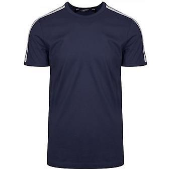 Antony Morato esporte tripulação pescoço Marinha ombro gravado T-shirt