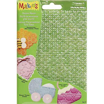 "Makin's Clay Texture Sheets 7""X5.5"" 4/Pkg-Set C (Honeycomb, Eyelet, Weave & Lace)"