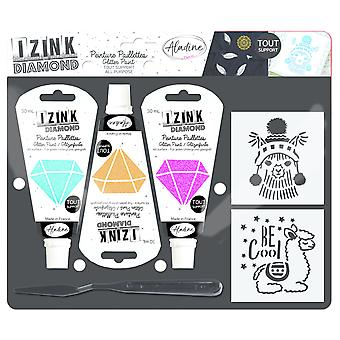 Aladine Izink Diamond Glitter Paint Kit Llama