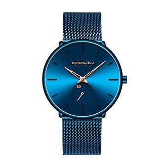 CRRJU Quartz Watch - Anologian Luxury Movement for Men and Women - Blue-Gold