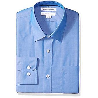 Essentials Men's Slim-Fit Wrinkle-Resistant Long-Sleeve Dress Shirt, F...