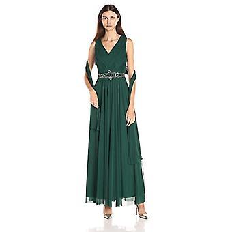 Jessica Howard Frauen's Korbweave V-Ausschnitt Perlen Taille Kleid mit Shirred Ski...