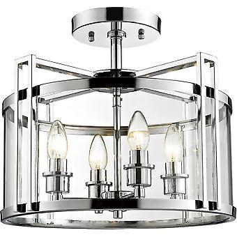 Inspirerte Diyas - Eaton - Semi Flush Ceiling 4 Lyspolert krom, Glass
