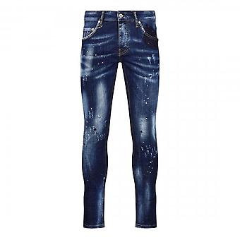 7th Hvn Rip & Repair Blue Tinted Skinny Jeans With Paint Marks S1311