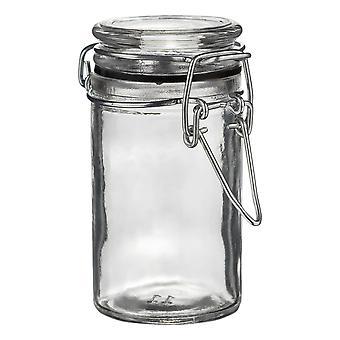 Argon Geschirr Glas Aufbewahrungsglas mit luftdichten Clip Deckel - 70ml - schwarze Dichtung
