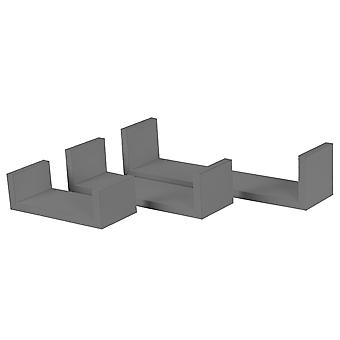 6 Piece U Shaped Floating Shelves Set - Wooden Book CD DVD Wall Storage Display Shelf - Grey - 3 Sizes