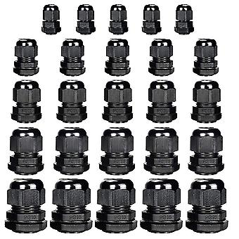 25pcs Nylon  Waterproof Cable Gland Joints Pg7, Pg9, Pg11, Pg13.5, Pg16