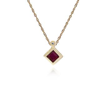 Geometric Square Ruby & Diamond Pendant Necklace in 9ct Yellow Gold 135P1584029