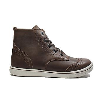 Ricosta Jenny Brown Leather Boys Lace/Zip Up Brogue Ankle Boots