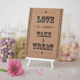 Wedding Sweet Bar A5 Sign | 'Love Is Sweet' with Easel Vintage Decorations