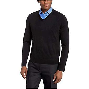 BUTTONED DOWN Men's Italian Merino Wool Lightweight Cashwool V-Neck Sweater, Black, Large