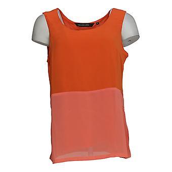 Colleen Lopez Women's Top Mixed Media Sleeveless Tank Orange 698-386