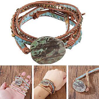 Bohemian Stone Crystal Bangle Healing Bead Pendentif Chaîne Bracelet Bijoux