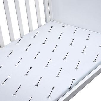Printed Crib Sheets Set, 100% Natural Cotton Toddler Sheet Set For Baby And,
