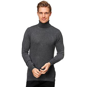 Men Turtleneck Pullover Retro Long Sleeves Viscose Regular Fit Stretch Basic