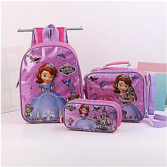 3pcs Princess Disney - Shoulder Backpack Bag , Pencil Cartoon Case , Frozen
