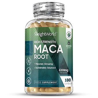 Maca Root Extract - 4000mg 180 Capsules - Helps Muscle Building -  (6 month supply)