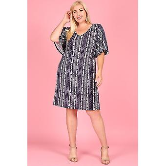 Paisley Print, Knee Length Dress, Short Batwing Sleeves, V-neck,1281