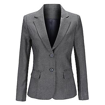 YANGFAN Women Solid Color Two Buckle Blazer