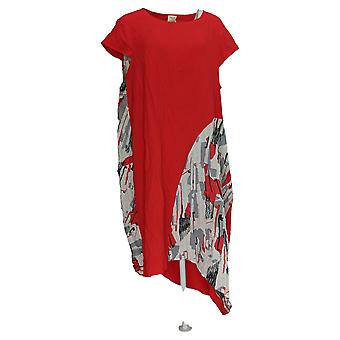 Truth + Style Dress Cotton Blend W/ Pocket Abstract Printed Red A381303