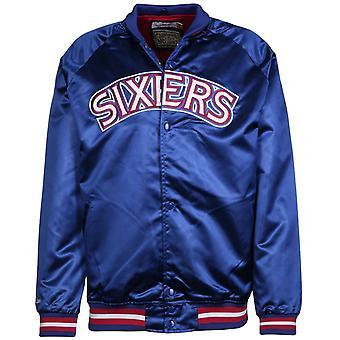 Mitchell & Ness Philadelphia Sixers Letvægts Satin Bomber Jacket Blå P76ROYA