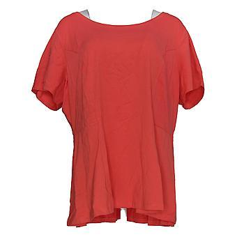 Isaac Mizrahi Live! Damen's Top Short Sleeve Pink A354253