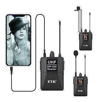 Canal Uhf Wireless Dual Lavalier Microfon Sistem 60m Range