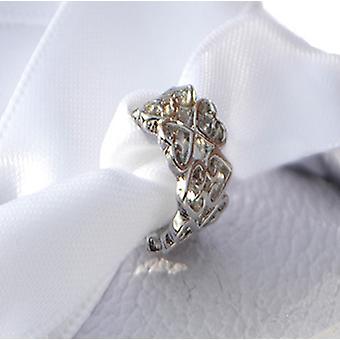 Sølv 2 række hjerte sko charme