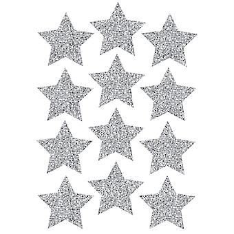 """Die-Cut Magnets, 3"""" Silver Sparkle Stars, Pack Of 12"""
