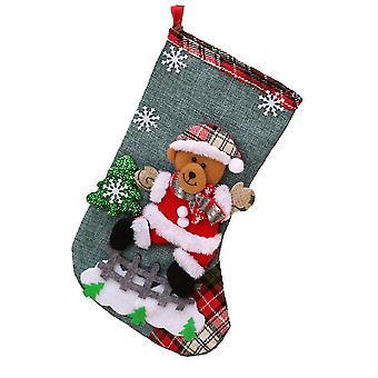 Linen Large Christmas Stocking Christmas Decoration Christmas Gift Bag Children Candy Bag 3 Pieces