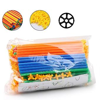 4d Diy Straw Blocks, Plastic Stitching Inserted Construction Assembled Toy