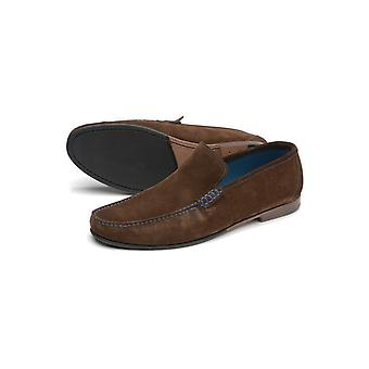 Loake Lifestyle Nicholson Suede Moccasin Shoes Dark Brown Suede