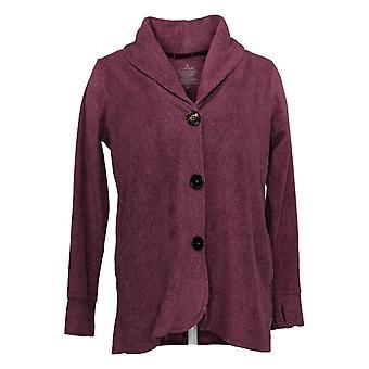Cuddl Duds Women's Sweater Fleecewear Button Front Blazer Purple A369667