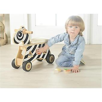 Children Wooden Ride-on Shape Sorter Zebra Baby Walker Educational Toy