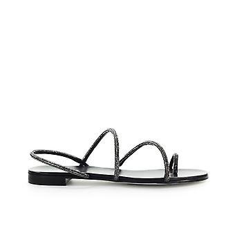 Grey Mer Mini Campari Black Flat Sandal