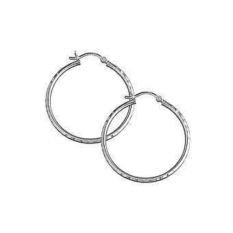 Ikuisuus hopea 35mm timantti leikattu faceted vanne korvakorut