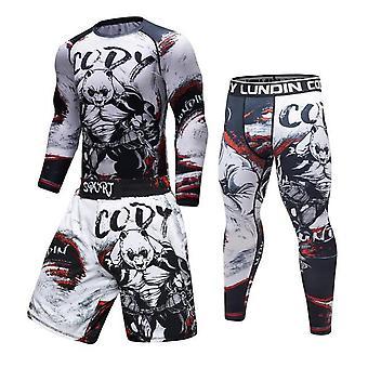 Man Compression Sport Suit Nopeasti kuivuva Hiki Fitness Training Mma Kit