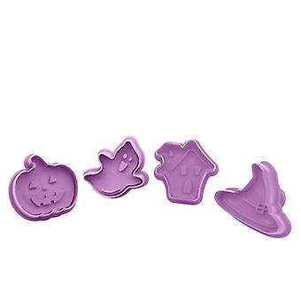 4pcs/set Diy Baking Tools Silicone Biscuit Mold Halloween Pumpkin Hat Shaped Fudge Cake Mold