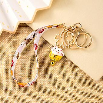 Enamel Lucky Cat Keychain Black Yellow Pink Red Cherry Bell Gold