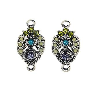 Zola Elements Pendant Link, Grapevine Pointed Drop Focal 12x22mm , 2 Pieces, Antiqued Silver Tone