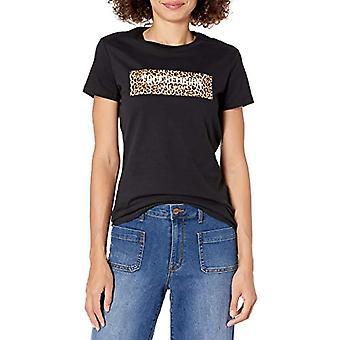 True Religion Leopard Block Slim Crew T-Shirt, Black, S Woman