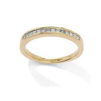 Jewelco London 18ct Yellow Gold Diamond 0.25ct Princess Eternity Wedding Ring - 3mm