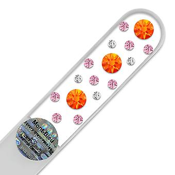 Glass nail file with Swarovski crystals CN-M - Fireopal - Light Rose