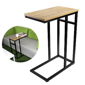 Houten bank / kant / einde / laptop tafel met glanzend blad en chromen frame